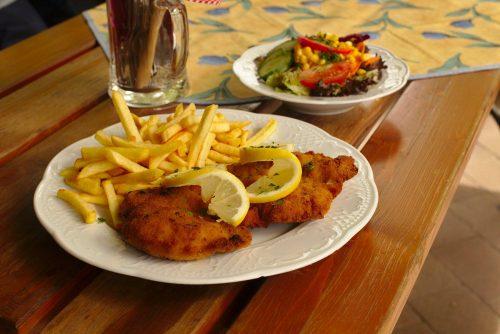 Schnitzel mit Pommes Frites und Salat | Naturfreundehaus Billtalhöhe | Waldgaststätte | Königstein im Taunus